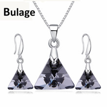 Bulage Original Crystals From Swarovski Vintage Triangle Pendant Necklaces Drop Earrings Jewelry Sets For Women Lovers Gift joyashiny crystals from swarovski classic romantic heart pendant necklaces drop earrings jewelry sets for women lovers gift