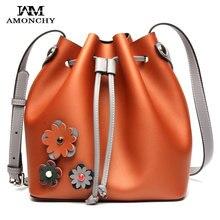 2016 neue Echtem Leder Eimer Taschen Designer Marke frauen Naturleder Einkaufstasche Mode Getäfelten Handtaschen