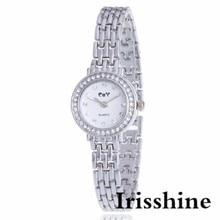 Irisshine i0694 Lady Fashion Women's Minimalism Rhinestone Golden Stainless Steel Wrist Watch women watches