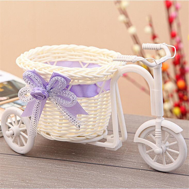 de alto grado de estilo moderno de mimbre moda jarrn decorativo moto triciclo cesta de flores