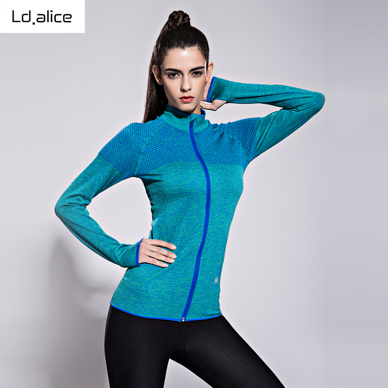 Femmes Sports à séchage rapide à manches longues pour femme Fitness veste à glissière manteau nouveau flocon de neige + grille couture toutes les fermetures à glissière yoga manteau