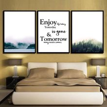 HD Prints Nordic Wall Art Posters Nursery Mountain Mist Landscape Canvas Painting Picture Kids Bedroom Decoration For Baby Room(China)