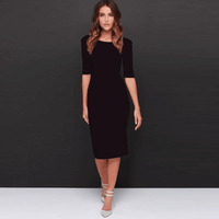 2018 Summer Black Office Dresses Casual Women Sexy Backless Half Sleeve Pencil Sheath Midi Dress Elegant Business Work Dresses