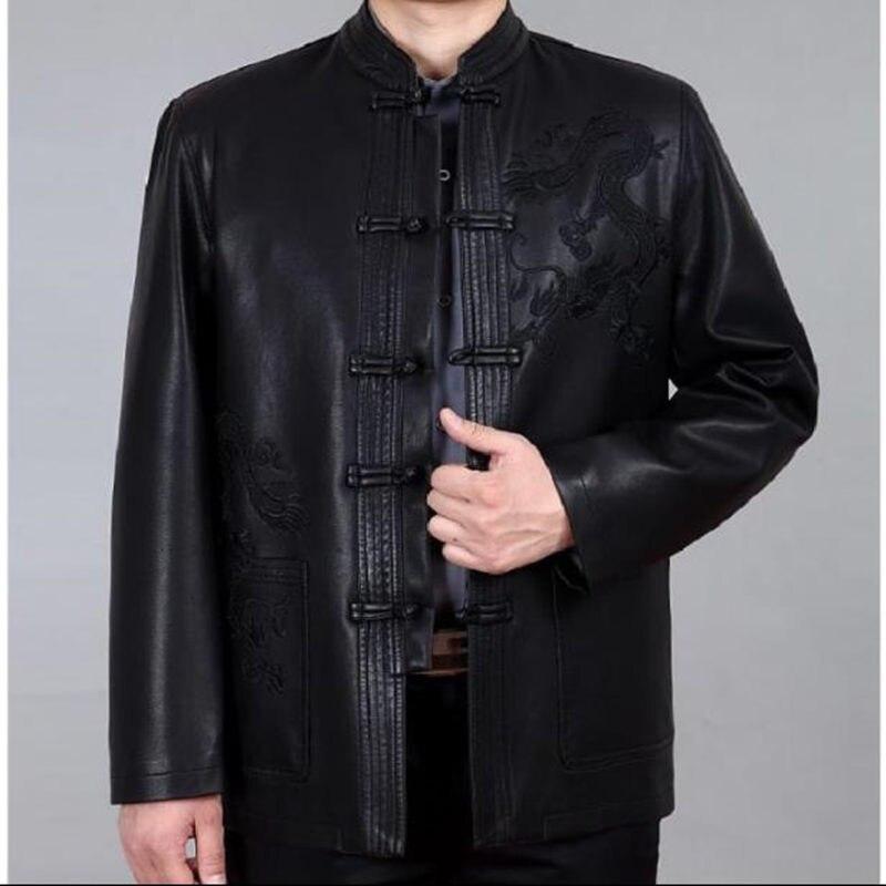 Uomini Cappotto di Pelle di Abbigliamento di Stile cinese degli uomini Del Ricamo Allentato Cappotti XXXL vestito di Linguetta Cineserie Giubbotti Tuta Sportiva