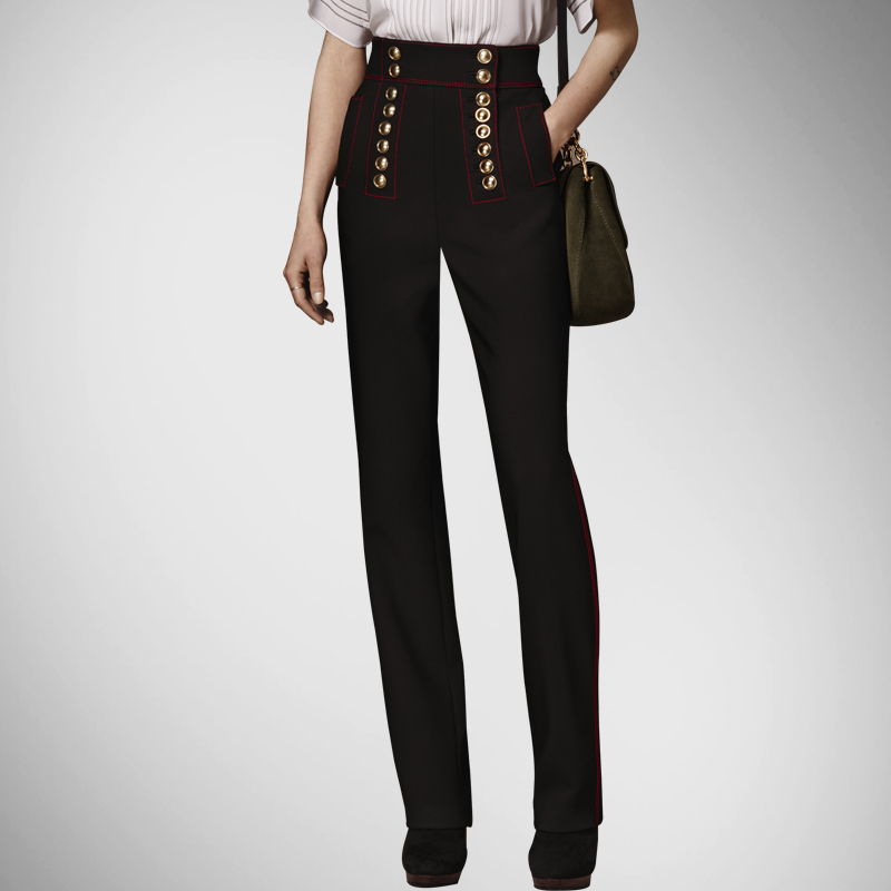 Nuevo Botón Mujer Europeo Breasted Pantalones Verano Cintura Estilo Limited Mujeres Regular Black Straight Alta EqRwYxdw