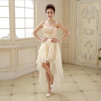 White Short Front Long Back Wedding Dress Tulle Appliques Strapless Bow High Low Vestido De Novia Off the Shoulder Asymmetrical