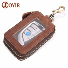 JOYIR Genuine Leather Key Holder Wallet Men Double Zipper Car Wallets High-capacity Housekeeper Bag Case 6 Rings