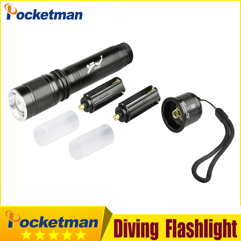 6200Lm CREE T6 Waterproof Dive Underwater 80 Meter LED Diving Flashlight Torch Lamp Light Camping Lanterna With Stepless dimming
