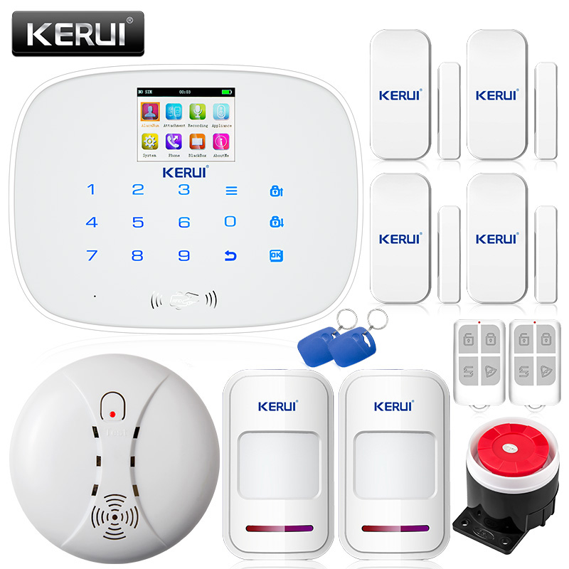 KERUI G19 Wireless Alarm System Quad Band GSM SMS Burglar Home Security Alarm System Android iOS APP Control LED Screen