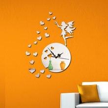 DIY Creative Wall Clock For Living Room Modern Design Clocks Home Decor 3D Mirror Watch Gift F