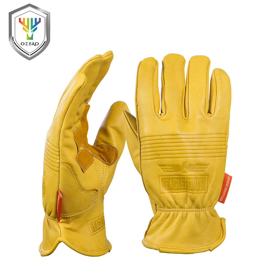 Goat leather work gloves - New Men S Work Gloves Goat Leather Security Protection Safety Cutting Working Repairman Garage Racing Gloves For