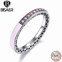 VOROCO 100 925 Sterling Silver Radiant Hearts Light Pink Enamel Clear CZ Finger Ring Women Wedding