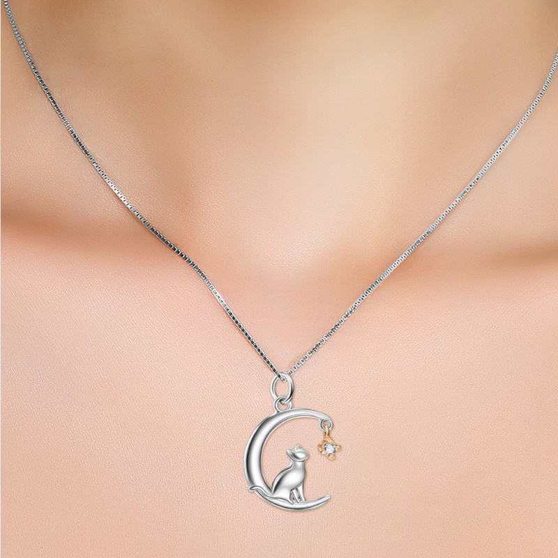 100% Real Pure 925 Sterling Silver Charming Lovely Cat Moon Necklace