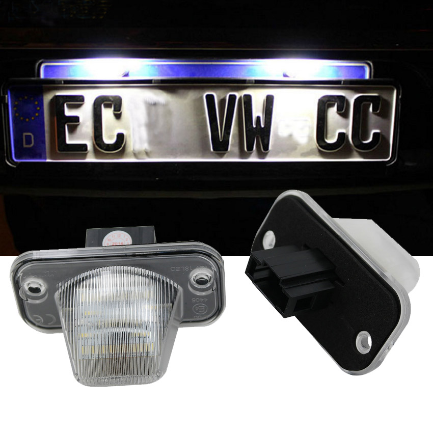 1Pair LED License Plate Light For Volkswagen VW Transporter T4 Syncro Passat B5 B6 Candy Touran Jetta Caravelle Multivan MK4 motorcycle tail tidy fender eliminator registration license plate holder bracket led light for ducati panigale 899 free shipping