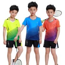 Adsmoney/качественная дышащая и быстросохнущая детская одежда для бадминтона, теннисная форма с v-образным вырезом, Спортивная футболка и шорты