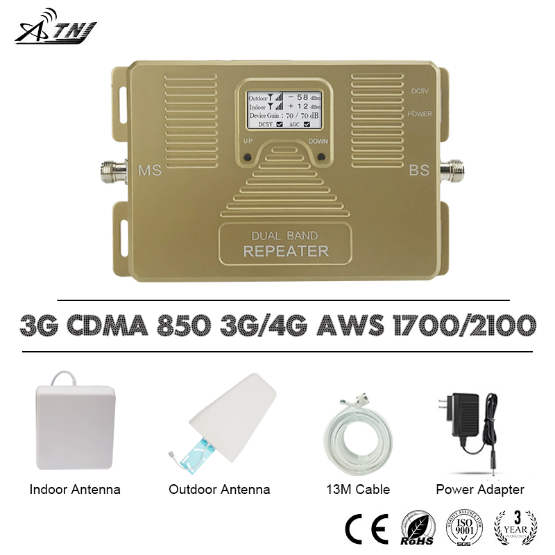 ATNJ Smart 4G Mobile Phone Signal Repeater 3G CDMA 850 4G AWS LTE 1700 2100mhz Signal Booster 70dB Gain 4G LTE Amplifier Band 4ATNJ Smart 4G Mobile Phone Signal Repeater 3G CDMA 850 4G AWS LTE 1700 2100mhz Signal Booster 70dB Gain 4G LTE Amplifier Band 4