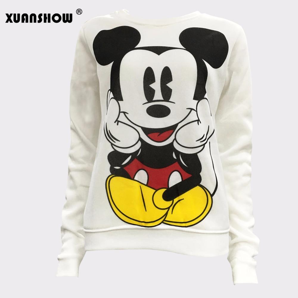 XUANSHOW 19 Women Sweatshirts Hoodies Character Printed Casual Pullover Cute Jumpers Top Long Sleeve O-Neck Fleece Tops S-XXL 6