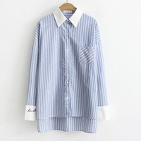Vertical Stripes White Collar Patchwork Long Shirt Blouse 17642