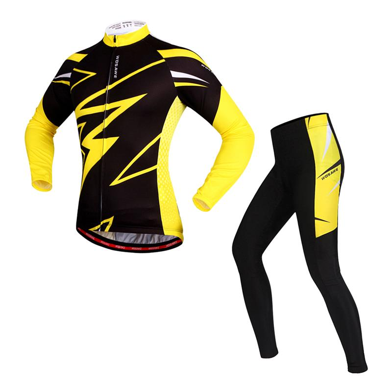 WOSAWE Long Sleeve Cycling Jersey Maillots Ciclismo Spandex Gel Padded Tight Spots suits Racing Bicycle Cycle Clothing 5 maillots 14 15 soccer jersey