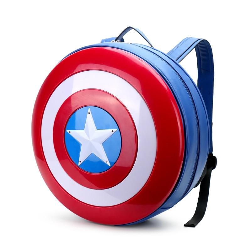 Fashion Captain America Backpack Shield Bag Avengers 2 Large Size Men Women Leather Big Laptop Back Pack Super Hero Rucksack