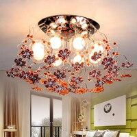 Современные Роза Кристалл Потолочные светильники приспособление круглый красный/желтый цветы потолочный Лампы для мотоциклов дома Освеще