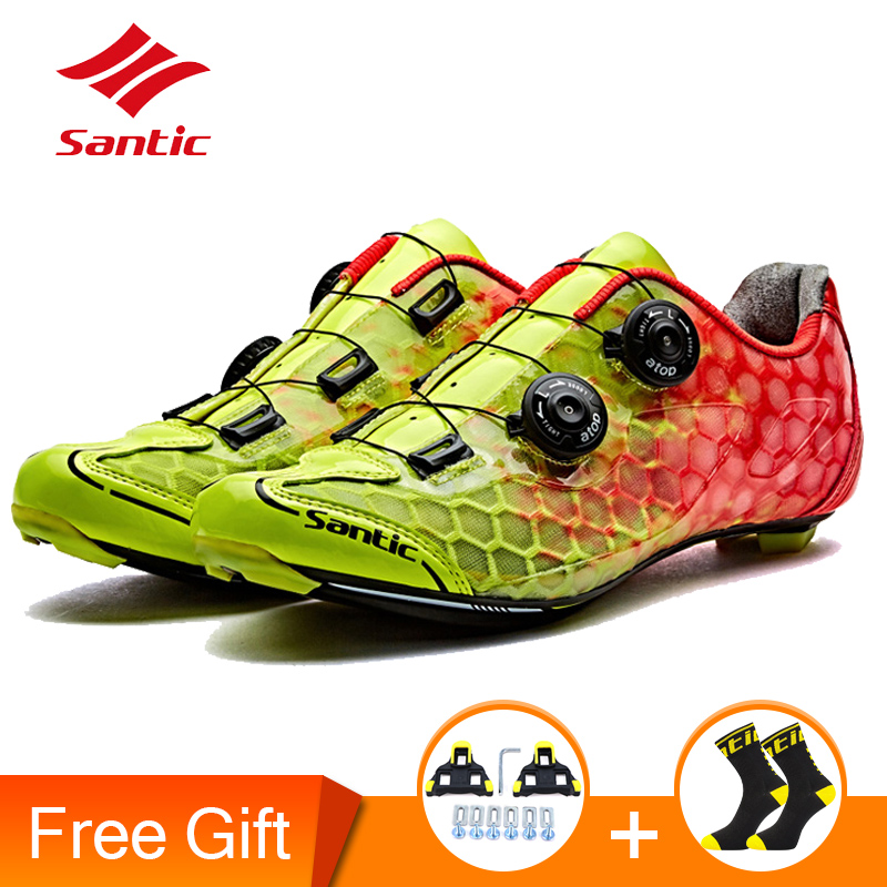 ec1619fa5f27c Santic Mens PRO Racer Road Cycling Shoes Carbon Fiber Sole Road Bike  Bicycle Shoes Self-locking Sneaker Scarpe Ciclismo Strada