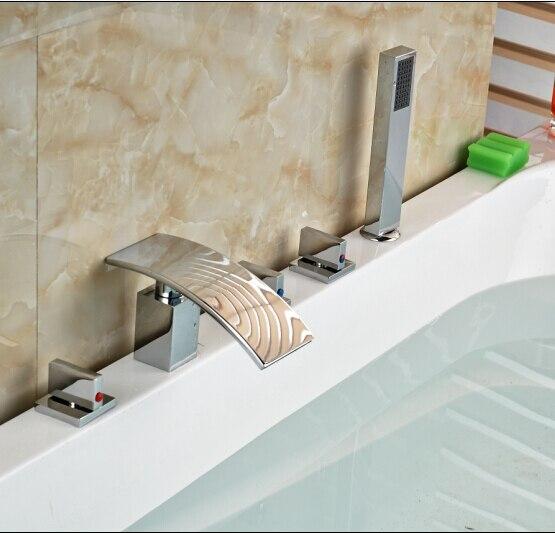 Contemporary Chrome Bathroom Faucet Deck Mounted Shape Faucet Three Handles Mixer Tap elegant chorme bathroom faucet deck mounted shape faucet three handles mixer tap