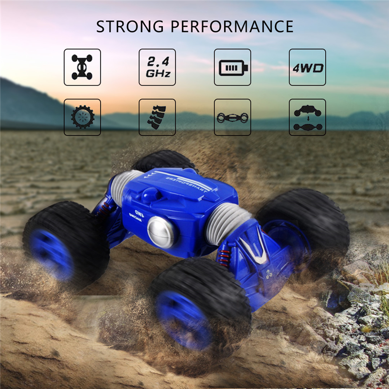 все цены на RC Car 4WD Double-sided 2.4G One Key Transformation All-terrain Vehicle Climbing Cars Remote Control Truck RC Toys for children онлайн