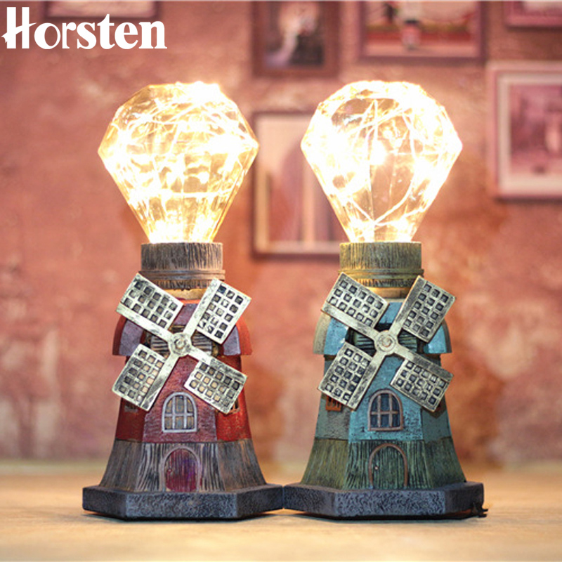 Horsten Vintage Star Table Lamp Retro Coffee Shop Table Lamp Personality Decoration Bedside Light For Bedroom Table Desk Light e27 retro coffee shop cloth table lamp vintage desk lamp 110 220v bedroom bar table light desk light kids room lampe