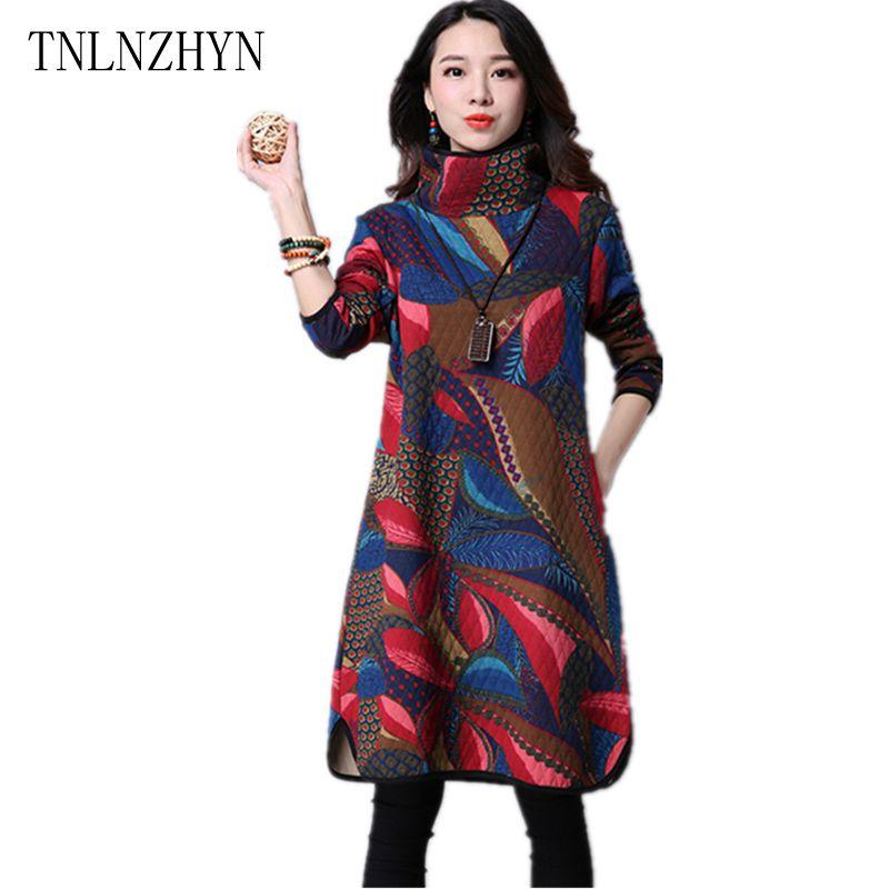 TNLNZHYN Korea 2017 Spring Women Dress Printing Big yards High Collar Dress Fashion Long Sleeve Retro