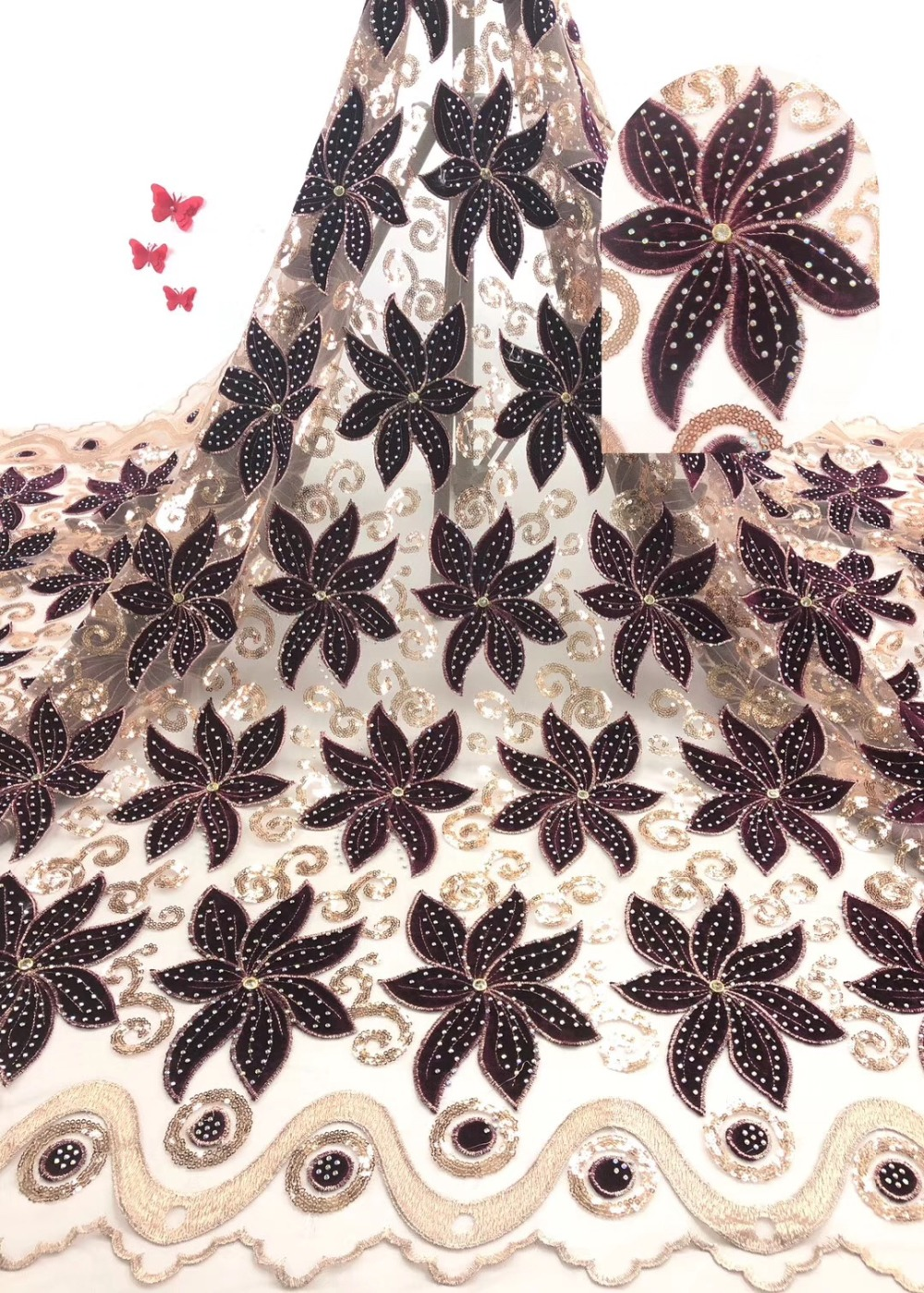 Nigerian Tulle velvet Lace 2019 Hot Selling French Lace Fabric For Wedding Dress Embroidery African Laces FabricNigerian Tulle velvet Lace 2019 Hot Selling French Lace Fabric For Wedding Dress Embroidery African Laces Fabric