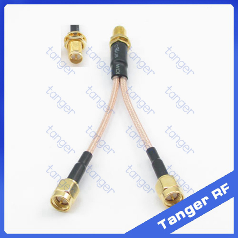 Tanger Y type cable 1RP-SMA female to 2 SMA male connector with 8 inch 20cm RG 316 RG-316 RF Coaxial Pigtail Jumper cable rp sma female to y type 2x ip 9 ms156 male splitter combiner cable pigtail rg316 one sma point 2 ms156 connector for lte yota