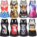 Women Digital Print  Gothic Punk Club Street Style T-Shirt Sexy Fashion Sleeveless  Female Animal Cartoon Pattern