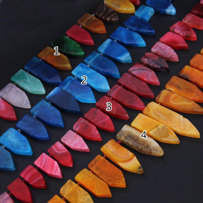 4 цвета на выбор, полный прядь натуральный купля полированная Камни Топ пробурено палкой точки Цепочки и ожерелья, окончил Клыка Спайк свобо...
