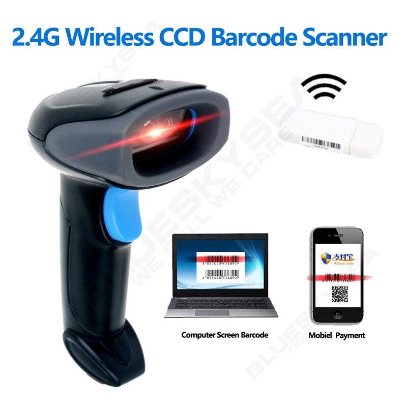 Freies verschiffen! 2,4G Wireless Barcode Scanner 1D CCD Bildschirm Barcode Reader Für Mobile Payment Drahtlose Barcode-scanner Android
