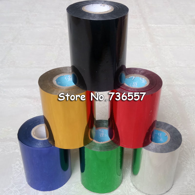 6 Rolls 6 Color 80mmx120M Silver Black Gold Red Blue Hot Stamping Foil Heat Transfer Napkin Gilding PVC Business Card Emboss