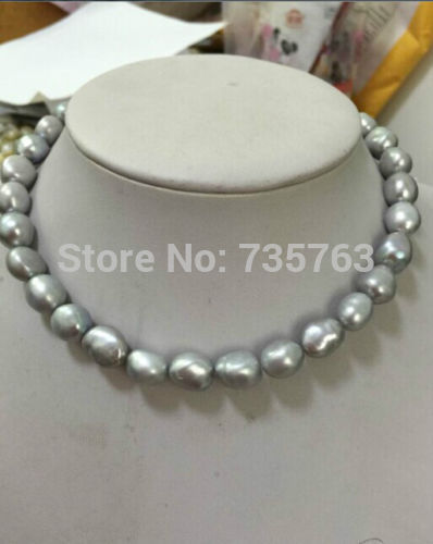 xiuli 0015467 12 13MM natural south seas silver grey pearl necklace