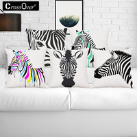 Animal Cushion Cover Black And White Zebra Cotton Linen Horse Pollowcases Home Decorative Car Sofa Throw