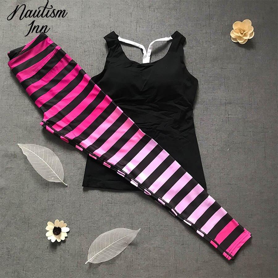 2018 Yoga Set Gym Fitness Clothing Sport Wear Women Yoga Pants Stripe & Off-shoulder Sportwear Elastic Jogging Workout Clothes stripe off shoulder playsuit