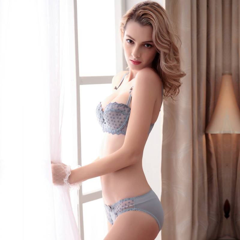 c446b33e190fd Plus Size underwear Woman sexy bra set 85 90 95 B C D Cpu lingerie bra lace  vs secret bralette transparent bra panty set SW1210-in Bra   Brief Sets  from ...