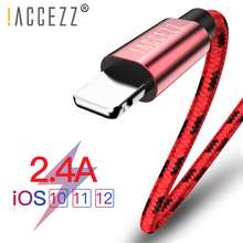 !ACCEZZ Nylon USB Cable For Apple iphone X XS MAX XR Data Sync Phone 2.4A Charging Cord For iphone 8 7 6S 5S Plus SE Charge Cord kosadaka cord r xs 110