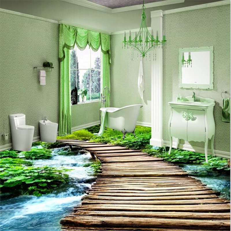 beibehang Toilets Custom 3D floor painting mural bathroom wear non-slip waterproof thickened self-adhesive PVC Wall paper beibehang lotus leaf fish custom photo wallpaper waterproof self adhesive wall sticker 3d floor painting mural wall paper roll