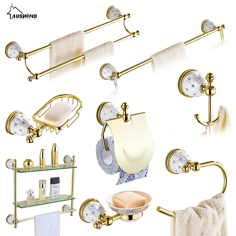 Crystal copper and gold wall hanging ceramic bathroom products bathroom hardware accessories set auswind gold entique bathroom hardware set ceramic decorate wall mounted bathroom hardware set aluminum alloy bathroom accessory