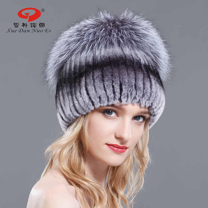 2017 new arrvial winter real Rex rabbit fur hat with big natural silver fox pompom multicolor