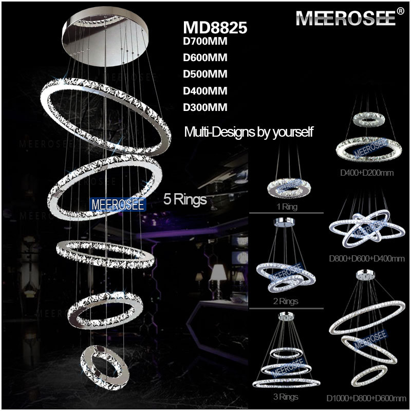 Modern 5 Rings Crystal LED Ceiling Light Fixture LED Crystal Lighting for stairs staircase hotel villa Hallway Porch Lighting