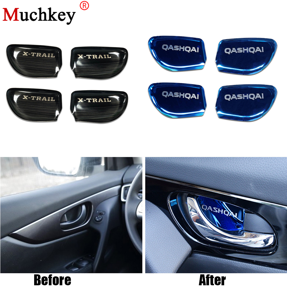 Car Styling Door Handle Cover Door Handle Bowl Trim For <font><b>Nissan</b></font> <font><b>Qashqai</b></font> 2016 Xtrail X-trail X trail 2014 To <font><b>2017</b></font> Car <font><b>Accessories</b></font> image