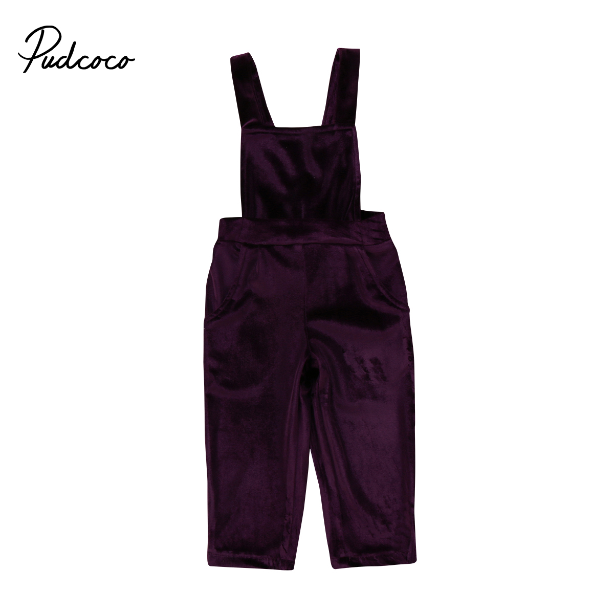 974a748ba1d Cute Summer Kids Baby Girls Velvet Overalls Solid color bandage backless  Jumpsuit Bib Pants Outfit Clothes sleeveless Overalls