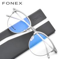FONEX Pure B Titanium Glasses Frame Men Round Prescription Eyewear Myopia Optical Spectacles Eyeglasses with Ceramics Nose Pad