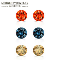 Neoglory Austria Rhinestone S925 Silver Plated Stud Earrings Brilliant Colorful Round Style Allergy Free Holiday Gift