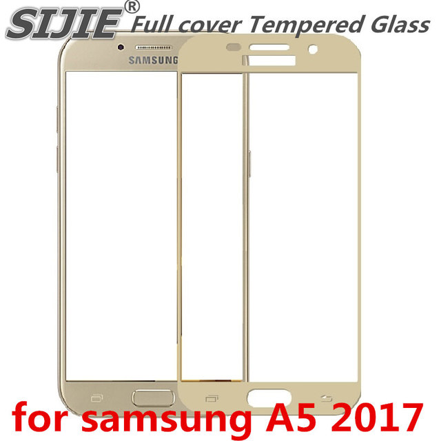 Full cover Tempered Glass for samsung Galaxy A5 2017 A520F A520 5.2 inch Screen Protective Gold White Blue Black frame all edge